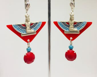 Vintage Art Deco  Cherry red Galalith Egyptian Revival winged Isis statement  earrings flapper 1920s jazz age