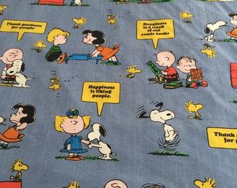 Vintage Snoopy Peanuts Twin Flat Sheet Blue Happiness Is Tastemaker Woodstock
