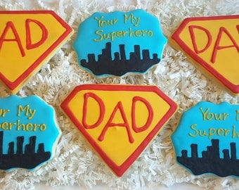 Super Hero Dad Father's Day Cookies Gift