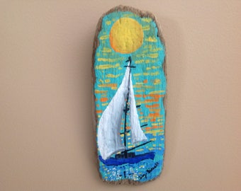 FREE SHIPPING!Original,handpainted,nautical,drift wood,painting on drift wood,drift wood art ,sailboat,sunset,wall hsnging , beach decor.