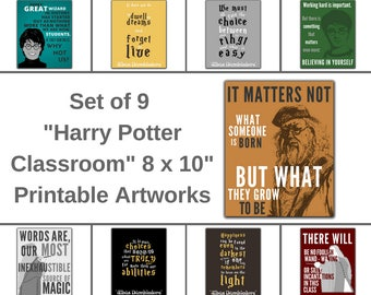 "Set of 9 ""Harry Potter Classroom"" Printable Artworks, Classroom Decor, Classroom Poster, Back To School, School Artwork, Gift for Teacher"