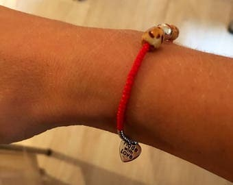 Red silver and leopard stretchy beaded bracelet