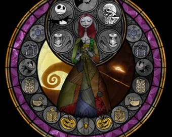 Nightmare before Christmas Sally Jack cross stitch digital Pattern medallion stained glass kingdom hearts