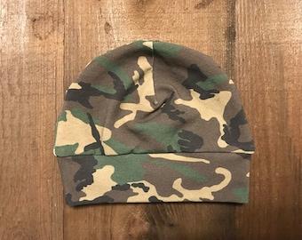 Baby Hat - Camo - Cotton Spandex Jersey Material - 0-3 Months (Newborn)