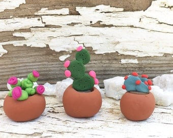 Clay Cacti Magnets {set of 3}