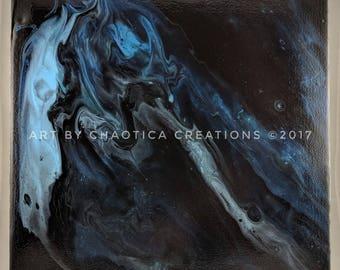 """12"""" x 12"""" Abstract Fluid Acrylic Painting - R1"""