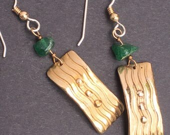 Bronze and Diopside Earrings