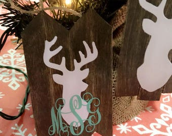 Rustic Deer Head Ornament - 4 Panel
