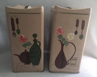Vintage Metal Ransburg Sugar and Flour Canisters with Roses