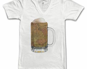 Ladies  Boston Map Beer Mug Tee, Vintage City Maps Beer Mug Tees, Beer T-Shirt, Beer Thinkers, Beer Lovers, Cities, Beer Lover Tees
