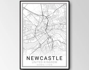 Newcastle upon Tyne city map