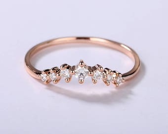 Curved wedding band women Rose Gold wedding band women Dainty Diamond ring bridal set Match band Unique Delicate Chevron Promise Anniversary