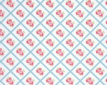 END OF BOLT - 3 Yards - Sky Libby Fabric, Lulu Roses Collection - Tanya Whelan - Shabby Chic Fabric - 100 % cotton , Quilting