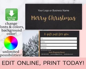 Photographer Christmas Gift Cards,Christmas Gift Certificates,Gift Card Template,Editable,Printable,LipSense,Distributor,INSTANT DOWNLOAD