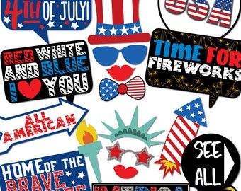 Fourth of July -35 Printable Props, Independence Day, America, USA, Red, White, & Blue, Statue of Liberty, 4th of July -INSTANT pdf DOWNLOAD