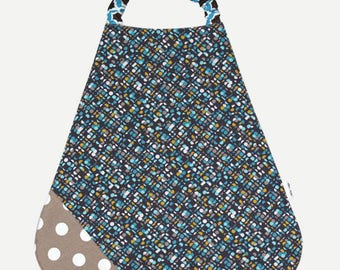 Bib elasticated Terry and cotton geometric print and polka dots