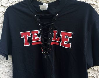 Temple University lace up tee