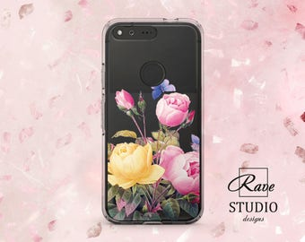 Flowers case Pixel xl case flower Rose phone case Google Pixel 2 case Floral phone case Rose case Cute Phone Cases Clear phone case Google