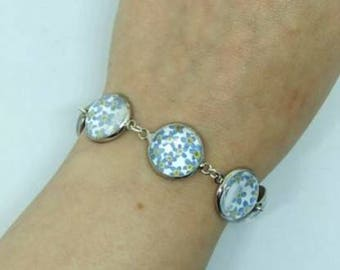 Forget-me-not Bracelet. Real pressed flowers. Silver plated.