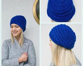 Blue Slouchy Beanie - Crochet Slouch Hat - Handmade Beanie - Womens Knit accessory - Knit Slouchy Hat - Blue Slouch Beanie- Gift Ideas