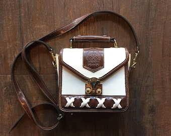 1980's Splendid Brown and White Leather Crossbody Bag