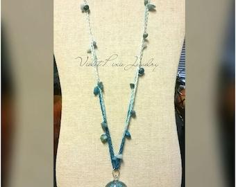 Blue beachy crochet necklace