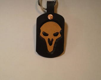 Overwatch Reaper keychain, carved leather made in USA,