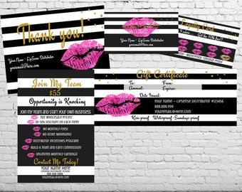 Striped LipSense Marketing Kit | Gift Certificate | Lip Loyalty Card | Thank You Postcard | Join My Team Flyer | Printable | Digital File