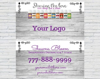 Essential Oil Business Card | Custom Business Card, Printable Business Card, Personalized Business Cards, Rustic, Wood, Printable, YL Oils