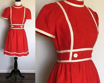 ON SALE Cherry Dress | 1960s Vintage Geoffrey Beene Red + White Linen Short Sleeve Mod Babydoll Dress | Size S/M
