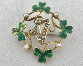 Amazing Vintage Solid 15Ct Yellow Gold Lucky 3 Leaf Clover and Seed Pearl Brooch!