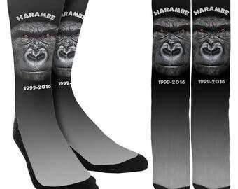 Harambe 1999-2016 Crew Socks - RIP Harambe Socks - Unique Socks - Novelty Socks - 100% Comfort - FREE SHIPPING