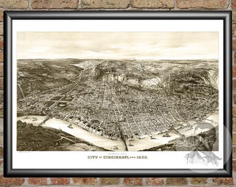 Cincinnati, Ohio Art Print From 1900 - Digitally Restored Old Cincinnati, OH Map Poster - Perfect For Fans Of Ohio History
