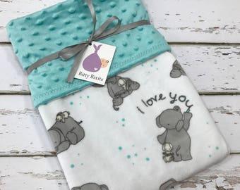 Elephant Baby Blanket Neutral baby blanket grey Baby Blanket gender neutral shower gift elephant blanket Minky blanket double Minky blanket