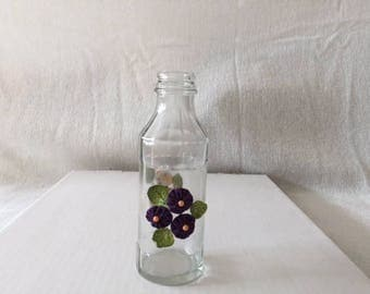 Vase with Puple and White Pattern Flower Design