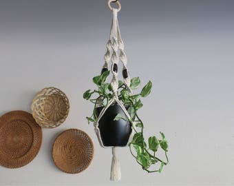 CHARITY DONATION Classic White Macramé Plant Hanger with Oversized Wooden Beads