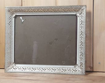 Intricate and Detailed Floral Victorian Style Vintage Frame with Glass Gold Tone and White Brushed Paint Metal Standing or Wall Hanging
