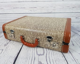 Vintage Celanese Hard Briefcase w/ Plastic Handle Case Faux Tweed Document Luggage Suitcase 70s Leather Trims Mid Century Travel