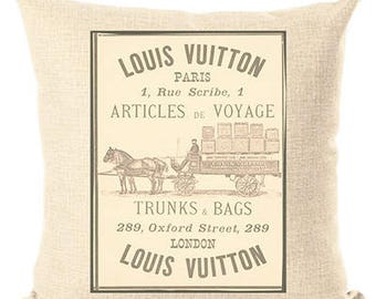 Louis Vuitton Inspired Pillow Cover Decorative Pillow Old Article Beige Pillow Fashion Pillow Home Decor Couture LV