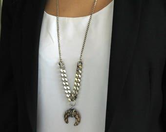 SPRING SALE Upside Down Moon Necklace, Leopard Pendant Necklace, Crescent Moon Necklace ,Half Moon Necklace, Leopard Long Necklace