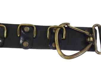 Vintage Sam Brown women real leather belt black 90