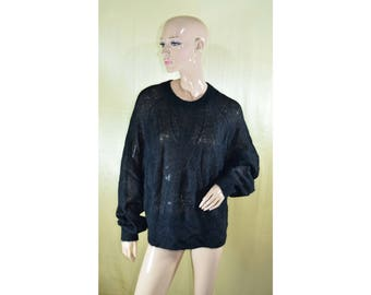 Vintage women top blouse black mohair and wool