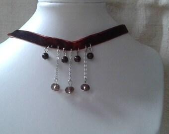 """crew neck """"Ribbon velvet and Brown beads"""""""