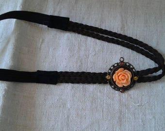 Braid and pretty apricot flower headband