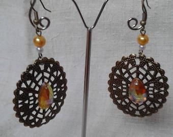 "Earrings ""pretty print and yellow rhinestones"""