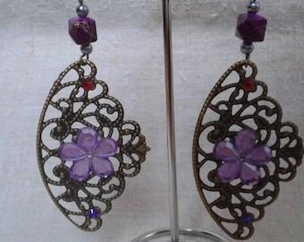 large print bronze earrings