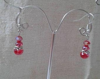 """red faceted beads trio"" earrings"