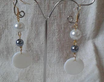 "Earrings ""big white patch"""