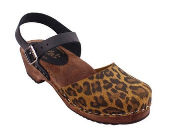 Swedish Clogs Low Wood Leopard Leather Brown Base by Lotta from Stockholm / Wooden Clogs / Sandals / Low Heel / Mary Jane Shoes