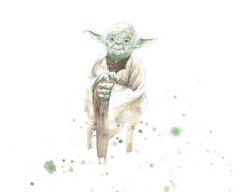 Yoda Star Wars Watercolor 8x10 Art Print